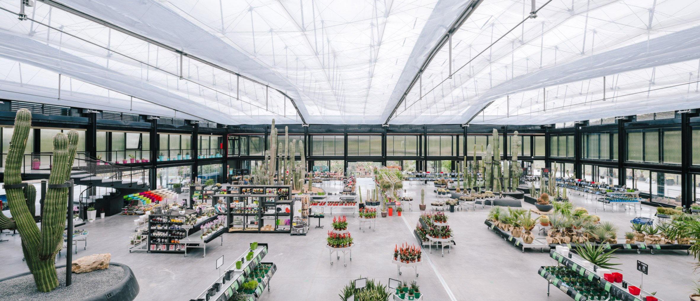 Научно-технический центр - сад ксерофитов под крышей из ETFE