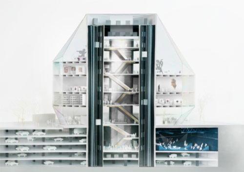 Физическая модель музея в разрезе. Масштаб 1:100